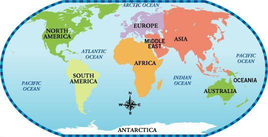 Сколько частей света и материков на земле, их расположение на карте, самая большая часть света